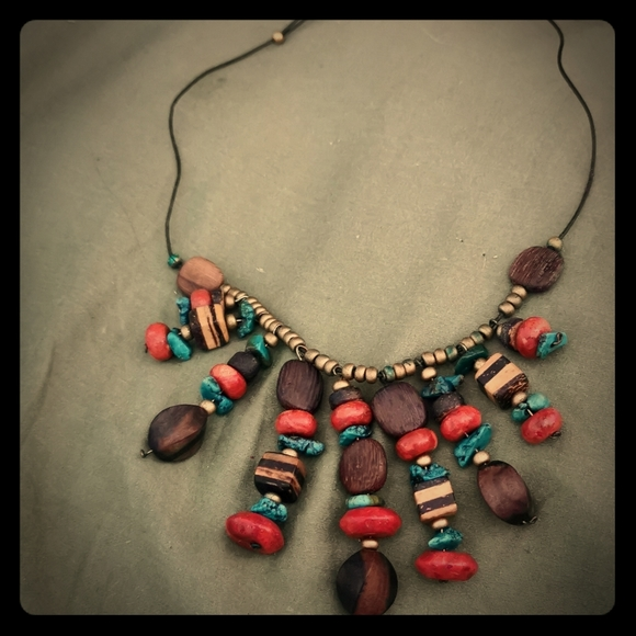 Beautiful wood and rocks boho cute necklace